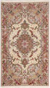 Tabriz 50 Raj Silkillä Matto 75X127 Itämainen Käsinsolmittu Beige/Tummanruskea (Villa/Silkki, Persia/Iran)