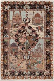 Tabriz 50 Raj Silkillä Matto 100X148 Itämainen Käsinsolmittu Tummanruskea/Vaaleanharmaa (Villa/Silkki, Persia/Iran)