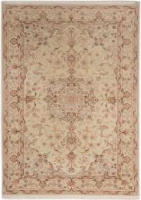 Tabriz 50 Raj Silkillä Matto 107X150 Itämainen Käsinsolmittu Ruskea/Vaaleanruskea/Tummanbeige (Villa/Silkki, Persia/Iran)