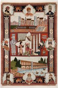 Tabriz 50 Raj Matto 103X150 Itämainen Käsinsolmittu Vaaleanharmaa/Tummanpunainen/Tummanruskea (Villa/Silkki, Persia/Iran)