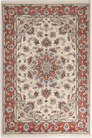 Tabriz 50 Raj Silkillä Matto 110X158 Itämainen Käsinsolmittu Vaaleanharmaa/Vaaleanruskea (Villa/Silkki, Persia/Iran)