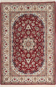 Isfahan Silkkiloimi Matto 108X164 Itämainen Käsinsolmittu Tummanpunainen/Vaaleanharmaa (Villa/Silkki, Persia/Iran)