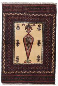 Beluch Matto 88X126 Itämainen Käsinsolmittu Tummanpunainen/Tummanruskea (Villa, Persia/Iran)