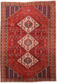 Shiraz Matto 217X316 Itämainen Käsinsolmittu Tummanpunainen/Ruoste (Villa, Persia/Iran)
