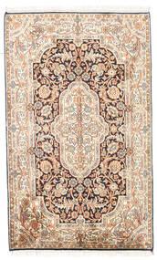 Kashmir 100% Silkki Matto 78X127 Itämainen Käsinsolmittu Beige/Vaaleanruskea (Silkki, Intia)
