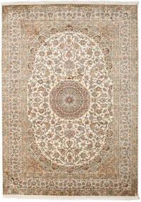 Kashmir 100% Silkki Matto 175X249 Itämainen Käsinsolmittu Beige/Vaaleanharmaa (Silkki, Intia)