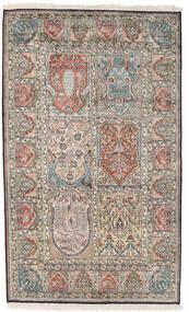 Kashmir 100% Silkki Matto 98X161 Itämainen Käsinsolmittu Vaaleanharmaa/Tummanharmaa (Silkki, Intia)