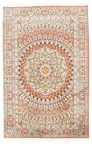 Kashmir 100% Silkki Matto 80X124 Itämainen Käsinsolmittu Beige/Vaaleanharmaa (Silkki, Intia)