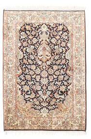 Kashmir 100% Silkki Matto 65X94 Itämainen Käsinsolmittu Beige/Valkoinen/Creme (Silkki, Intia)