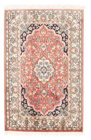 Kashmir 100% Silkki Matto 63X97 Itämainen Käsinsolmittu Beige/Tummanbeige (Silkki, Intia)
