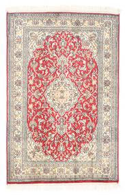 Kashmir 100% Silkki Matto 61X93 Itämainen Käsinsolmittu Valkoinen/Creme/Vaaleanharmaa (Silkki, Intia)