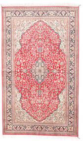 Kashmir 100% Silkki Matto 92X154 Itämainen Käsinsolmittu Beige/Vaaleanpunainen (Silkki, Intia)