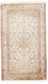 Kashmir 100% Silkki Matto 92X153 Itämainen Käsinsolmittu Valkoinen/Creme/Vaaleanharmaa (Silkki, Intia)