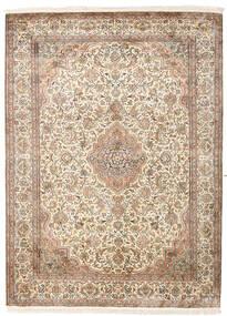Kashmir 100% Silkki Matto 160X217 Itämainen Käsinsolmittu Beige/Vaaleanruskea (Silkki, Intia)