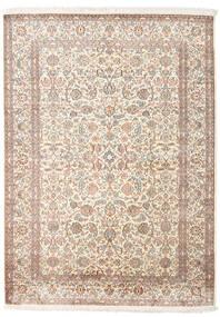 Kashmir 100% Silkki Matto 158X217 Itämainen Käsinsolmittu Vaaleanharmaa/Beige (Silkki, Intia)