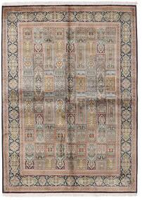 Kashmir 100% Silkki Matto 155X214 Itämainen Käsinsolmittu Vaaleanharmaa/Ruskea (Silkki, Intia)