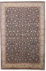 Kashmir 100% Silkki Matto 211X319 Itämainen Käsinsolmittu Vaaleanharmaa/Musta (Silkki, Intia)
