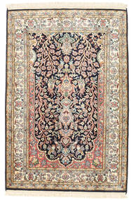 Kashmir 100% Silkki Matto 81X120 Itämainen Käsinsolmittu Beige/Tummanharmaa (Silkki, Intia)