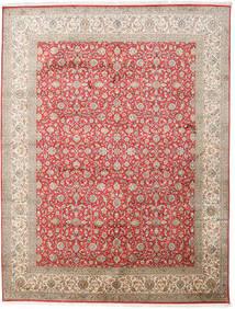 Kashmir 100% Silkki Matto 245X320 Itämainen Käsinsolmittu Vaaleanharmaa/Vaaleanruskea (Silkki, Intia)