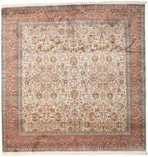Kashmir 100% Silkki Matto 247X253 Itämainen Käsinsolmittu Neliö Ruskea/Vaaleanharmaa (Silkki, Intia)