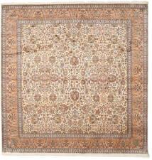 Kashmir 100% Silkki Matto 247X253 Itämainen Käsinsolmittu Neliö Ruskea/Beige (Silkki, Intia)