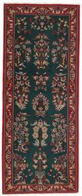 Ghom Kork/Silkki Matto 82X206 Itämainen Käsinsolmittu Käytävämatto Tummanvihreä/Tummanpunainen (Villa/Silkki, Persia/Iran)