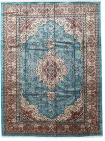 Kashmir Art. Silkki Matto 276X370 Itämainen Käsinsolmittu Vaaleanharmaa/Musta Isot ( Intia)