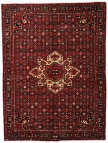 Hosseinabad Matto 163X214 Itämainen Käsinsolmittu Tummanpunainen (Villa, Persia/Iran)