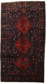 Hamadan Matto 157X289 Itämainen Käsinsolmittu Musta/Tummanpunainen (Villa, Persia/Iran)