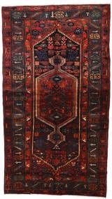 Hamadan Matto 142X252 Itämainen Käsinsolmittu Musta/Tummanpunainen (Villa, Persia/Iran)