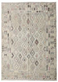 Kelim Afghan Old Style Matto 208X287 Itämainen Käsinkudottu Vaaleanharmaa/Tummanbeige (Villa, Afganistan)