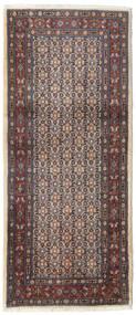Moud Matto 83X193 Itämainen Käsinsolmittu Käytävämatto Tummanruskea/Vaaleanharmaa (Villa/Silkki, Persia/Iran)
