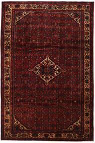 Hosseinabad Matto 211X336 Itämainen Käsinsolmittu Tummanpunainen (Villa, Persia/Iran)