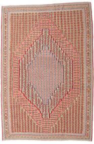 Kelim Senneh Matto 203X306 Itämainen Käsinkudottu Tummanpunainen/Vaaleanruskea (Villa, Persia/Iran)