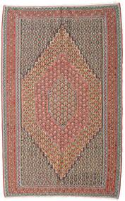 Kelim Senneh Matto 152X245 Itämainen Käsinkudottu Vaaleanharmaa/Tummanpunainen (Villa, Persia/Iran)