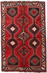 Shiraz Matto 155X241 Itämainen Käsinsolmittu Tummanpunainen/Ruoste (Villa, Persia/Iran)