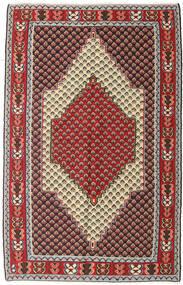 Kelim Senneh Matto 127X202 Itämainen Käsinkudottu Tummanruskea/Tummanpunainen (Villa, Persia/Iran)