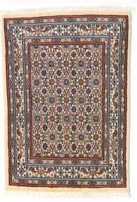 Moud Matto 62X85 Itämainen Käsinsolmittu Beige/Tummanruskea (Villa/Silkki, Persia/Iran)