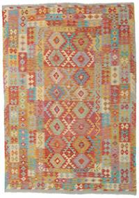 Kelim Afghan Old Style Matto 204X291 Itämainen Käsinkudottu Vaaleanruskea/Tummanbeige (Villa, Afganistan)