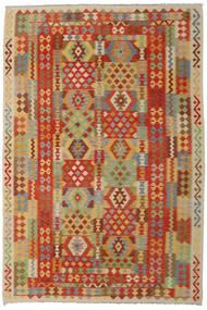 Kelim Afghan Old Style Matto 205X305 Itämainen Käsinkudottu Tummanbeige/Ruskea (Villa, Afganistan)