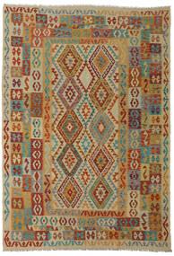 Kelim Afghan Old Style Matto 206X295 Itämainen Käsinkudottu Tummanpunainen/Vaaleanruskea (Villa, Afganistan)