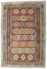 Kelim Afghan Old Style Matto 200X296 Itämainen Käsinkudottu Tummanpunainen/Vaaleanharmaa (Villa, Afganistan)