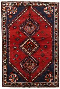 Shiraz Matto 155X230 Itämainen Käsinsolmittu Tummanruskea/Tummanpunainen (Villa, Persia/Iran)