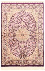 Ghom Silkki Matto 100X148 Itämainen Käsinkudottu Beige/Vaaleanpunainen (Silkki, Persia/Iran)