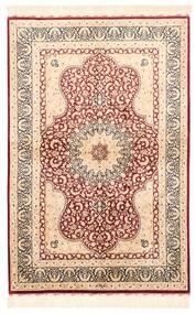 Ghom Silkki Matto 98X147 Itämainen Käsinkudottu Beige/Tummanruskea (Silkki, Persia/Iran)