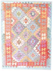 Kelim Afghan Old Style Matto 132X178 Itämainen Käsinkudottu Valkoinen/Creme/Vaaleanpunainen (Villa, Afganistan)