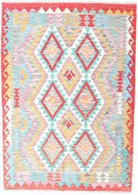Kelim Afghan Old Style Matto 126X179 Itämainen Käsinkudottu Vaaleanpunainen/Vaaleanharmaa (Villa, Afganistan)