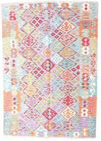 Kelim Afghan Old Style Matto 127X183 Itämainen Käsinkudottu Vaaleanpunainen/Siniturkoosi (Villa, Afganistan)