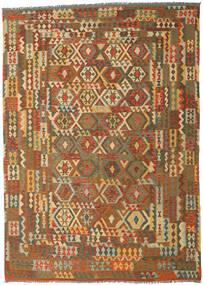 Kelim Afghan Old Style Matto 248X347 Itämainen Käsinkudottu Ruskea/Vaaleanruskea (Villa, Afganistan)