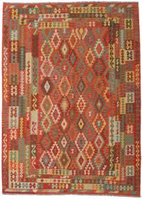 Kelim Afghan Old Style Matto 249X344 Itämainen Käsinkudottu Oranssi/Tummanbeige (Villa, Afganistan)